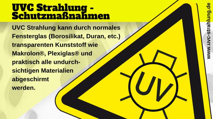gefährliche UVC Strahlung Schutzmaßnahmen